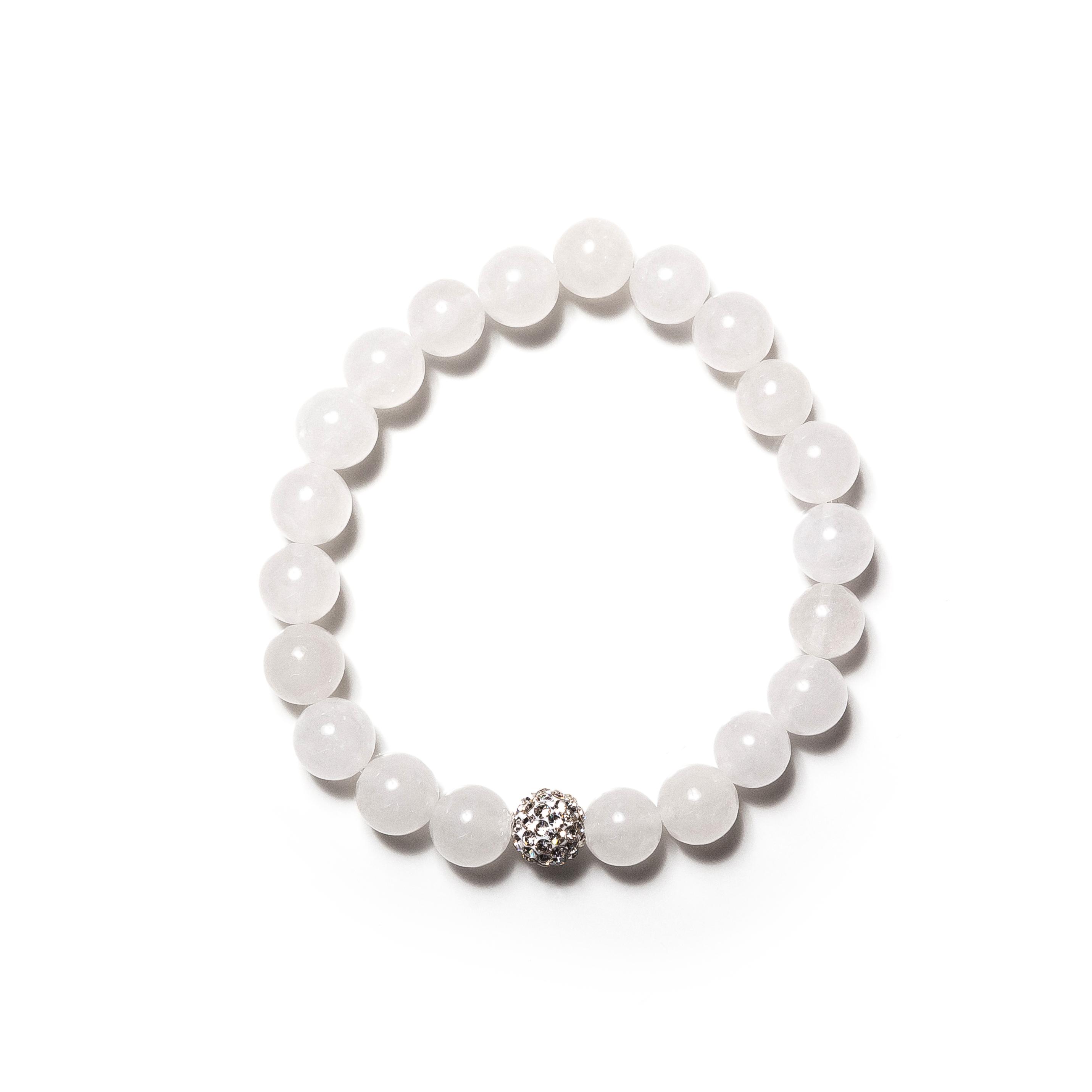 White Jade Beaded Bracelet Swarovski Fireball