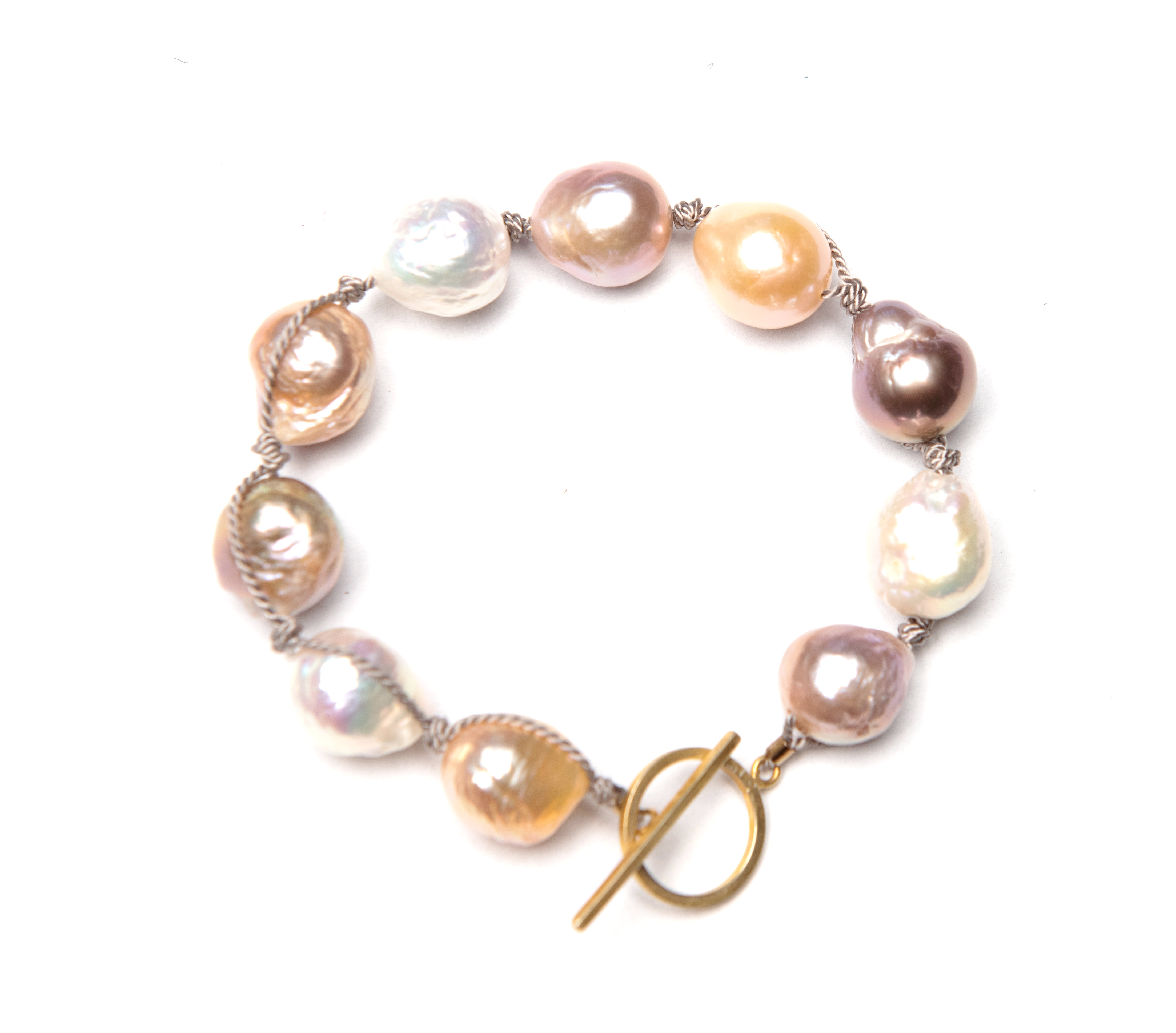 Baroque Pearl Bracelet Assorted Hues / 14k Gold Filled