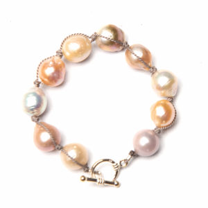 Baroque Pearl Bracelet with Assorted Hues Sterling Silver Toggle