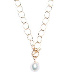 "16"" Front Toggle with White Baroque Pearl - 14k Gold"