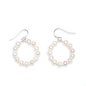 Small 20mm Hoop with Freshwater Pearls - Sterling Silver